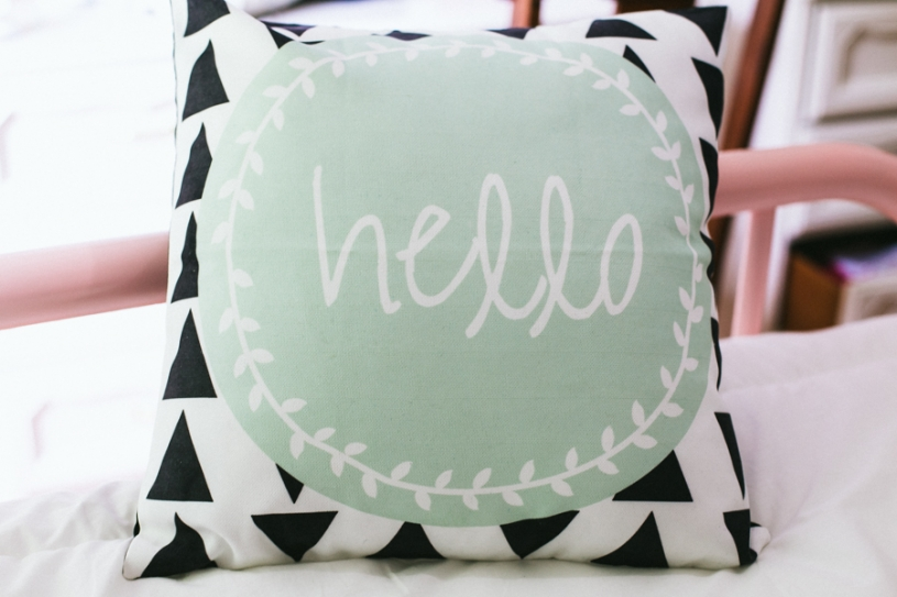 Hello Print Pillow by LOVEJOYCREATE on allthingsinspired.com